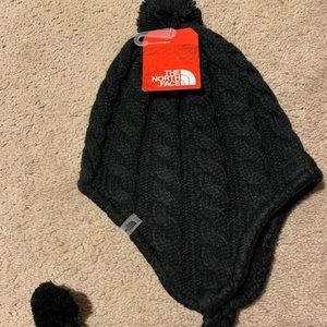 The North Face Accessories - North Face black fuzzy ear flap beanie winter hat
